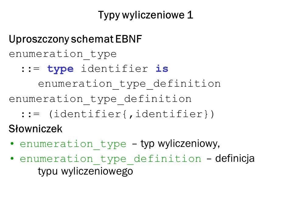 Typy wyliczeniowe 2 Przykład type Kolor is (Czerwony, Zielony, Niebieski, Fioletowy, Zolty); type Kolor_RGB is (Czerwony, Zielony, Niebieski); W tym przypadku jednoznaczność odwołań zapewniają następujące wyrażenia kwalifikowane (qualified expression): Kolor(Czerwony), Kolor_RGB(Czerwony) Bardziej rozsądne wydaje się jednak zdefiniowanie podtypu subtype Kolor_RGB is Kolor range Czerwony..Niebieski;