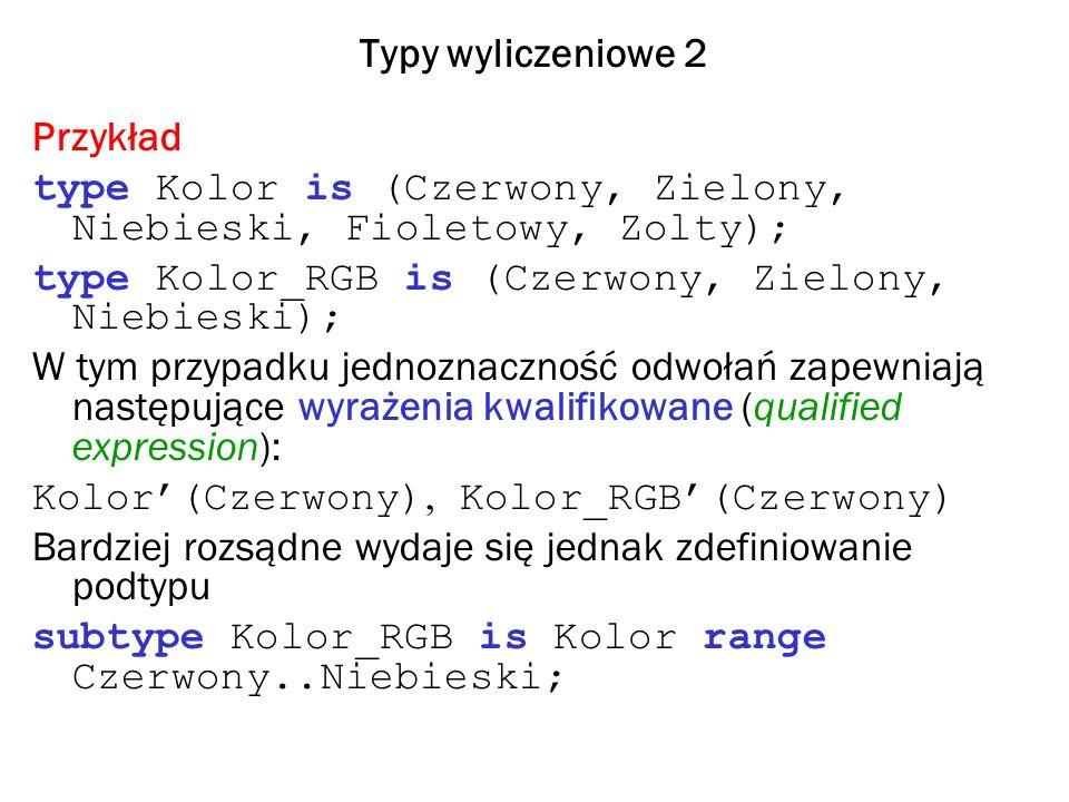 Typy wyliczeniowe 2 Przykład type Kolor is (Czerwony, Zielony, Niebieski, Fioletowy, Zolty); type Kolor_RGB is (Czerwony, Zielony, Niebieski); W tym p