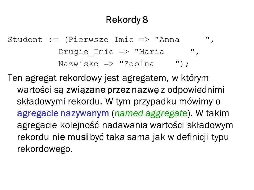 Rekordy 8 Student := (Pierwsze_Imie => Anna , Drugie_Imie => Maria , Nazwisko => Zdolna ); Ten agregat rekordowy jest agregatem, w którym wartości są związane przez nazwę z odpowiednimi składowymi rekordu.
