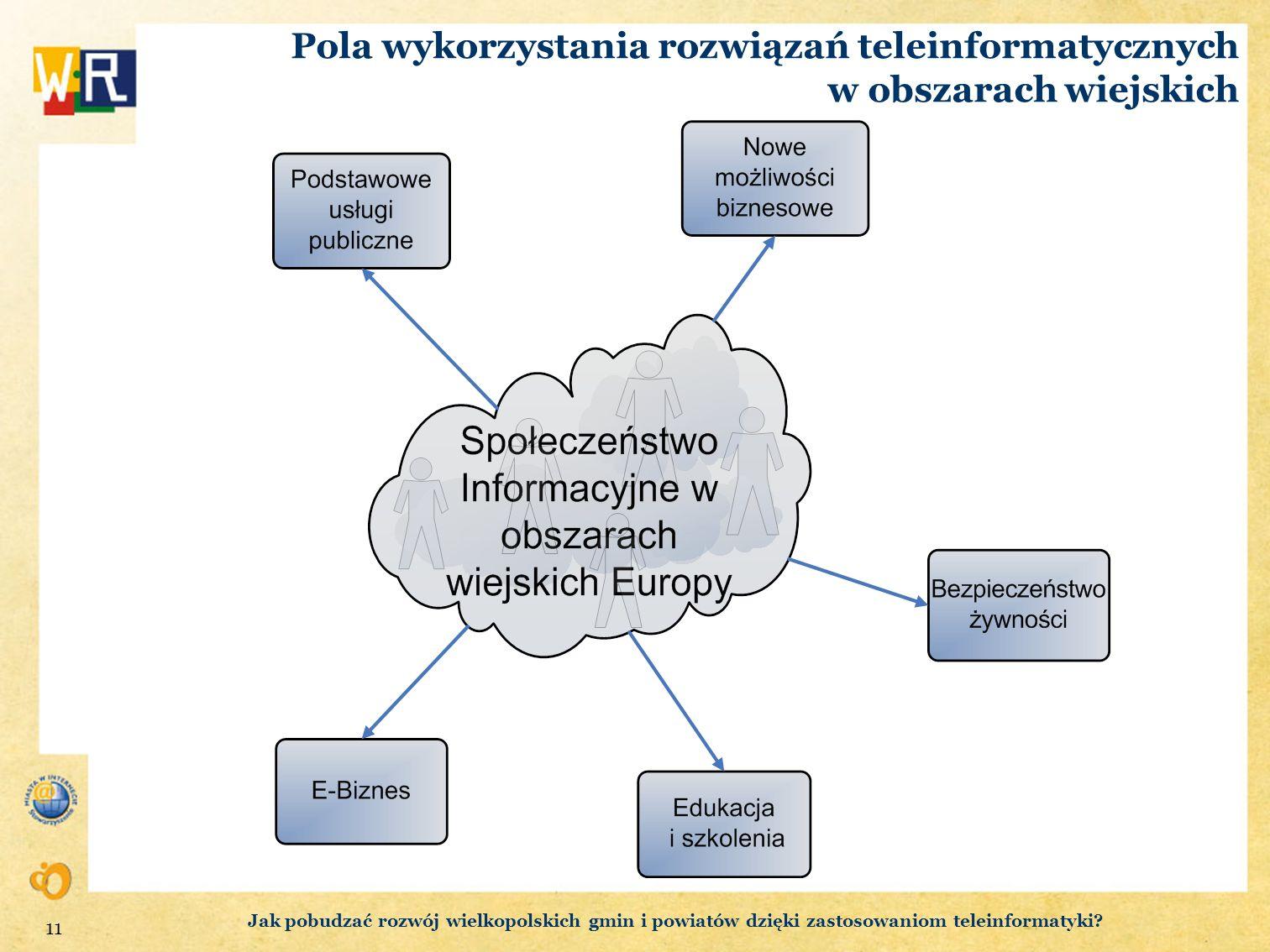 Pola wykorzystania rozwiązań teleinformatycznych w obszarach wiejskich 11 Jak pobudzać rozwój wielkopolskich gmin i powiatów dzięki zastosowaniom tele