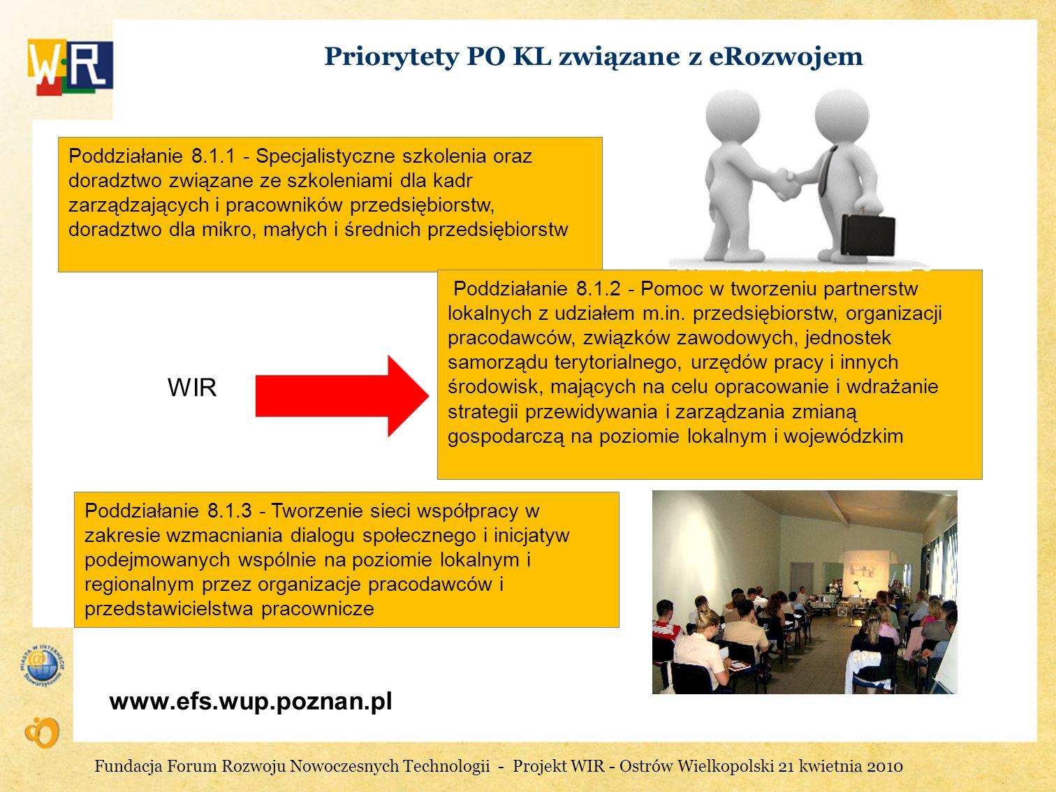 Priorytety PO KL związane z eRozwojem www.efs.wup.poznan.pl Poddziałanie 8.1.1 - Specjalistyczne szkolenia oraz doradztwo związane ze szkoleniami dla