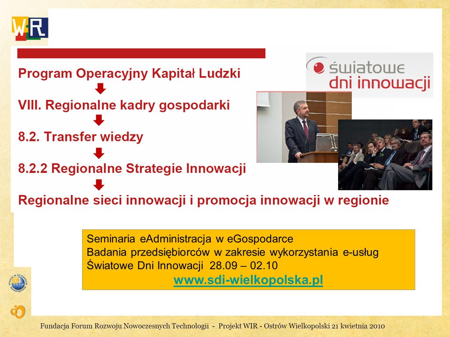 Działania Urzędu Marszałkowskiego na rzecz innowacji Seminaria eAdministracja w eGospodarce Badania przedsiębiorców w zakresie wykorzystania e-usług Ś