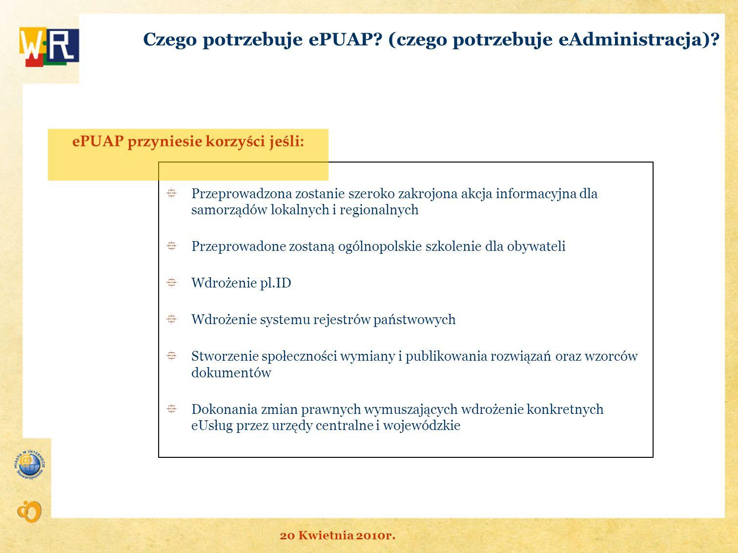 Przeprowadzona zostanie szeroko zakrojona akcja informacyjna dla samorządów lokalnych i regionalnych Przeprowadone zostaną ogólnopolskie szkolenie dla