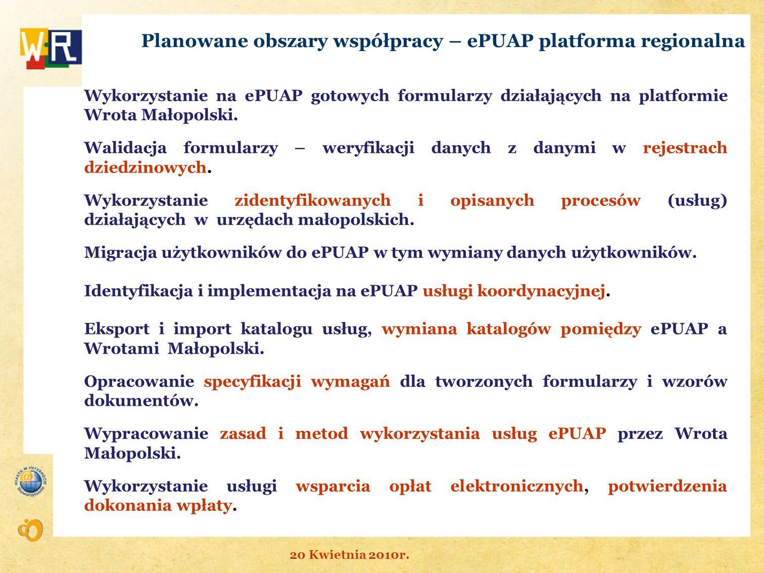 Planowane obszary współpracy – ePUAP platforma regionalna Wykorzystanie na ePUAP gotowych formularzy działających na platformie Wrota Małopolski. Wali