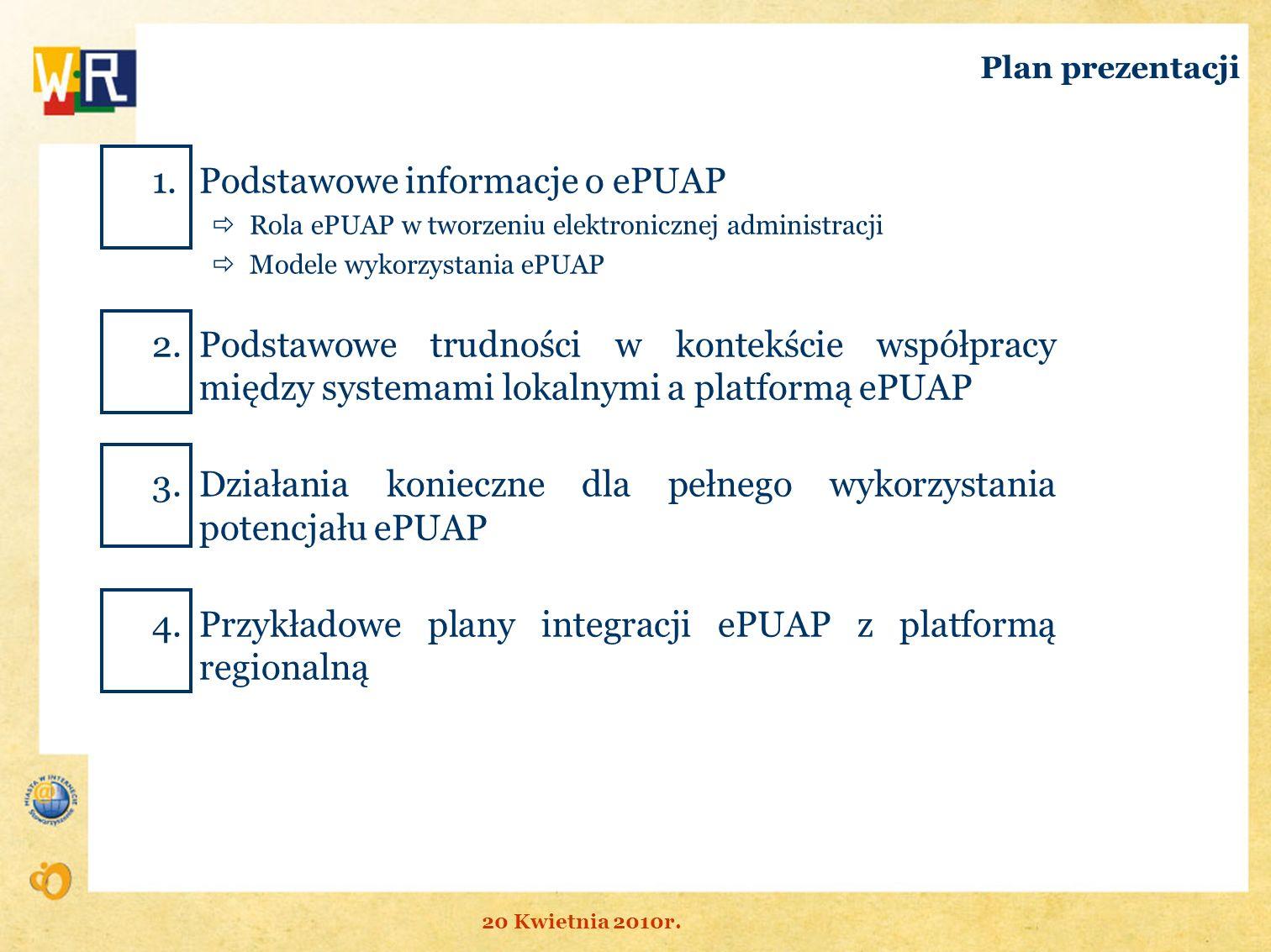 Plan prezentacji 1.Podstawowe informacje o ePUAP Rola ePUAP w tworzeniu elektronicznej administracji Modele wykorzystania ePUAP 2.Podstawowe trudności