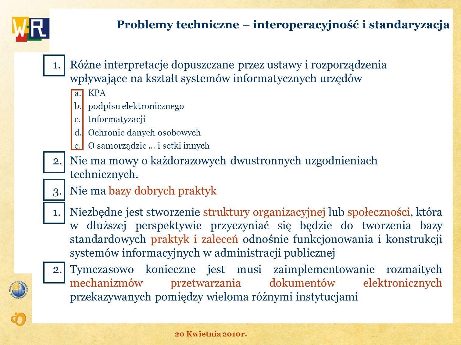 Problemy techniczne – interoperacyjność i standaryzacja 1.Różne interpretacje dopuszczane przez ustawy i rozporządzenia wpływające na kształt systemów