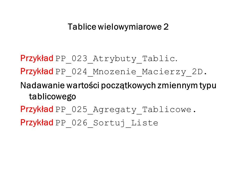 Tablice wielowymiarowe 2 Przykład PP_023_Atrybuty_Tablic. Przykład PP_024_Mnozenie_Macierzy_2D. Nadawanie wartości początkowych zmiennym typu tablicow
