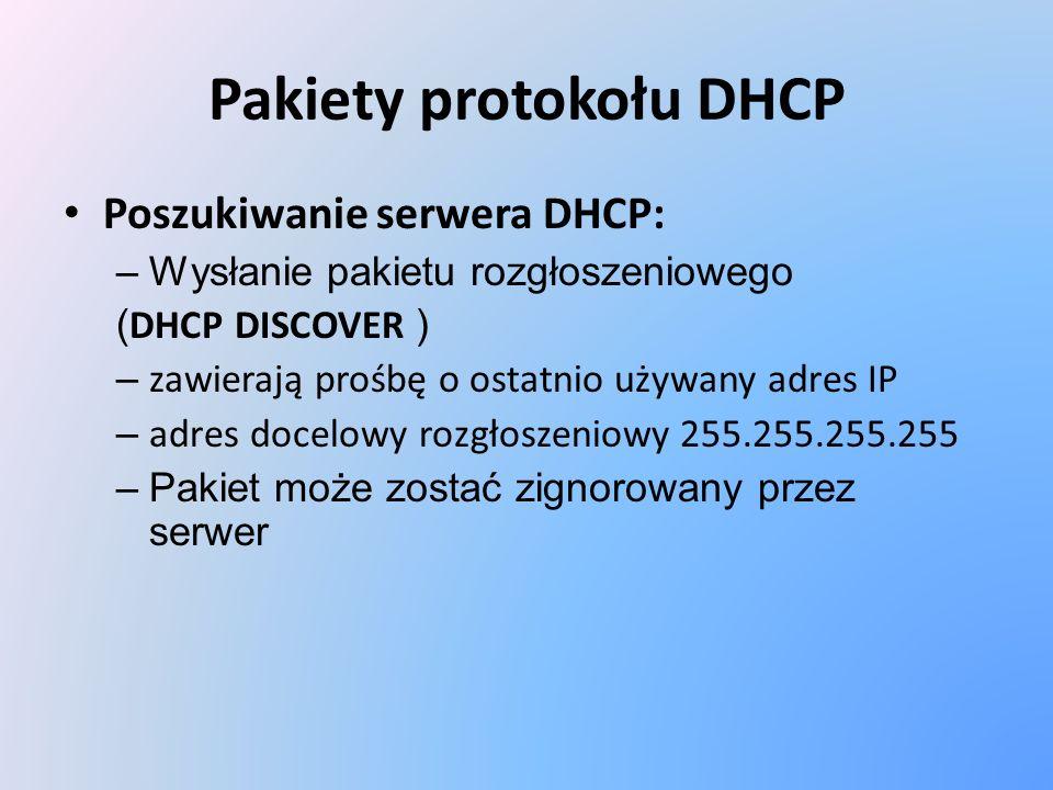 Pakiety protokołu DHCP Poszukiwanie serwera DHCP: –Wysłanie pakietu rozgłoszeniowego ( DHCP DISCOVER ) – zawierają prośbę o ostatnio używany adres IP