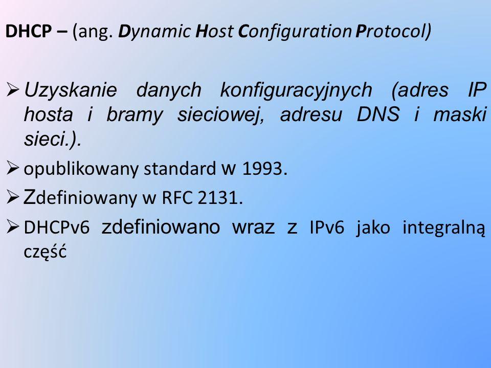DHCP – (ang. Dynamic Host Configuration Protocol) Uzyskanie danych konfiguracyjnych (adres IP hosta i bramy sieciowej, adresu DNS i maski sieci.). opu