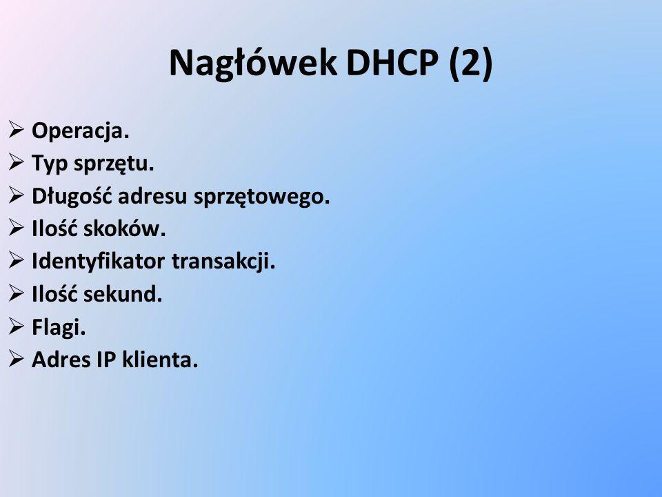 Nagłówek DHCP (2) Operacja. Typ sprzętu. Długość adresu sprzętowego. Ilość skoków. Identyfikator transakcji. Ilość sekund. Flagi. Adres IP klienta.