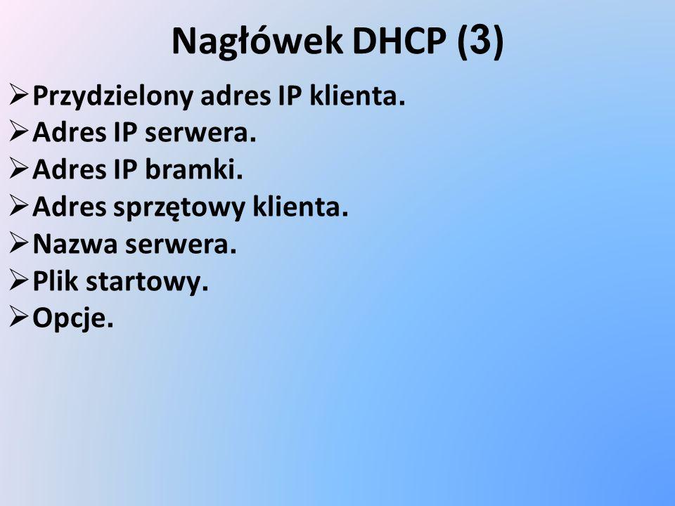Nagłówek DHCP ( 3 ) Przydzielony adres IP klienta. Adres IP serwera. Adres IP bramki. Adres sprzętowy klienta. Nazwa serwera. Plik startowy. Opcje.