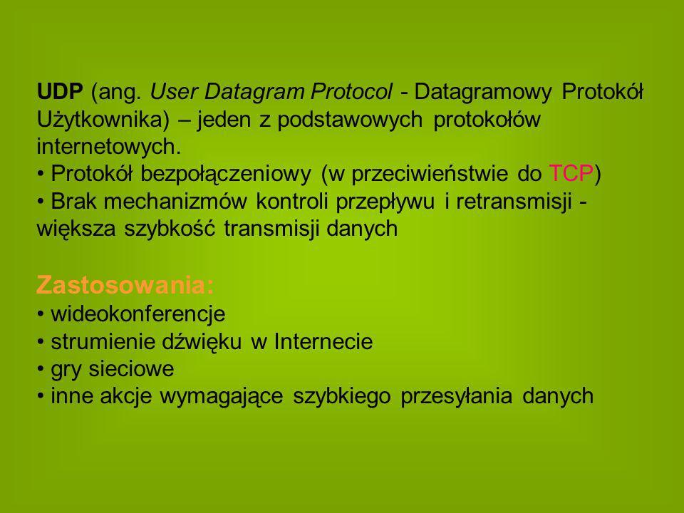 UDP (ang. User Datagram Protocol - Datagramowy Protokół Użytkownika) – jeden z podstawowych protokołów internetowych. Protokół bezpołączeniowy (w prze