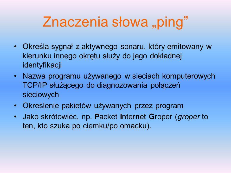 Znaczenia słowa ping Określa sygnał z aktywnego sonaru, który emitowany w kierunku innego okrętu służy do jego dokładnej identyfikacji Nazwa programu