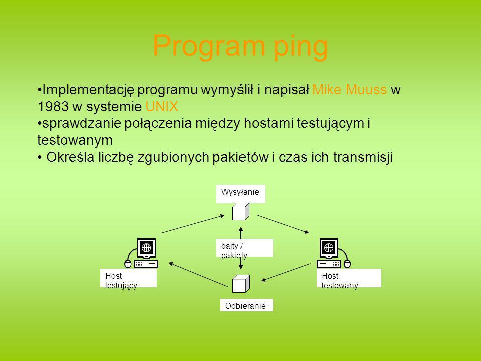 Program ping Implementację programu wymyślił i napisał Mike Muuss w 1983 w systemie UNIX sprawdzanie połączenia między hostami testującym i testowanym