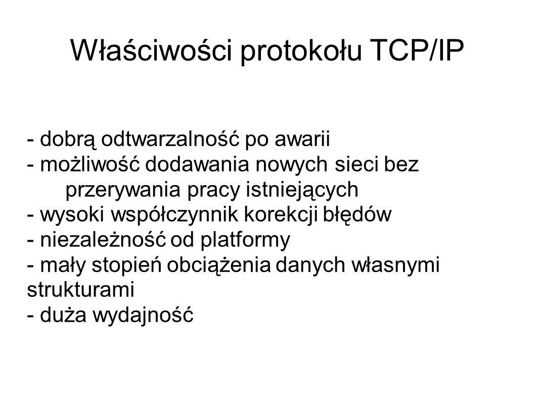 Właściwości protokołu TCP/IP - dobrą odtwarzalność po awarii - możliwość dodawania nowych sieci bez przerywania pracy istniejących - wysoki współczynn