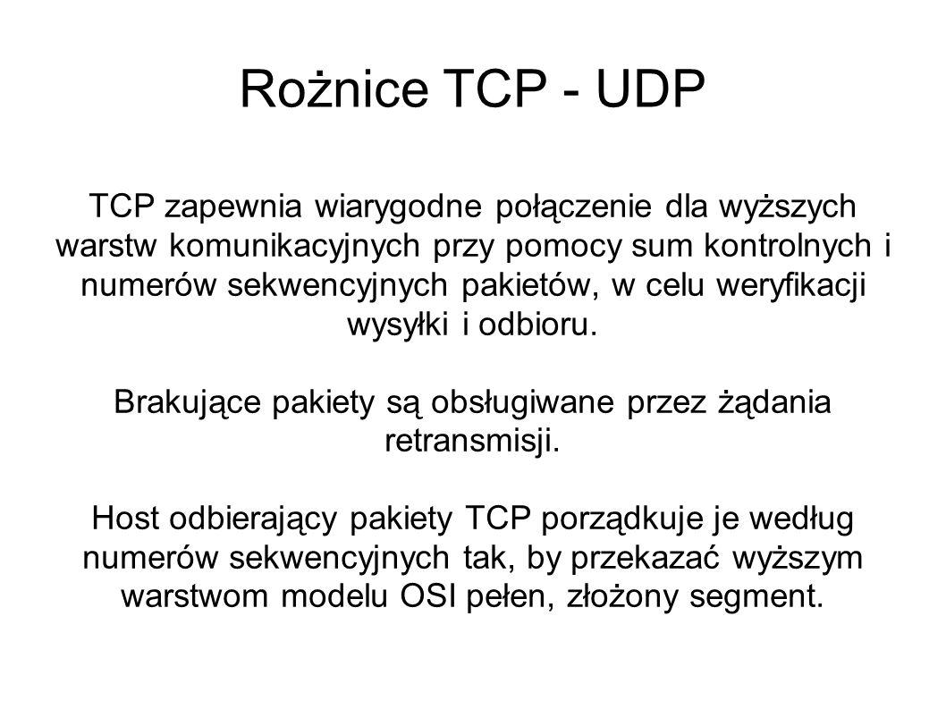 Rożnice TCP - UDP TCP zapewnia wiarygodne połączenie dla wyższych warstw komunikacyjnych przy pomocy sum kontrolnych i numerów sekwencyjnych pakietów,