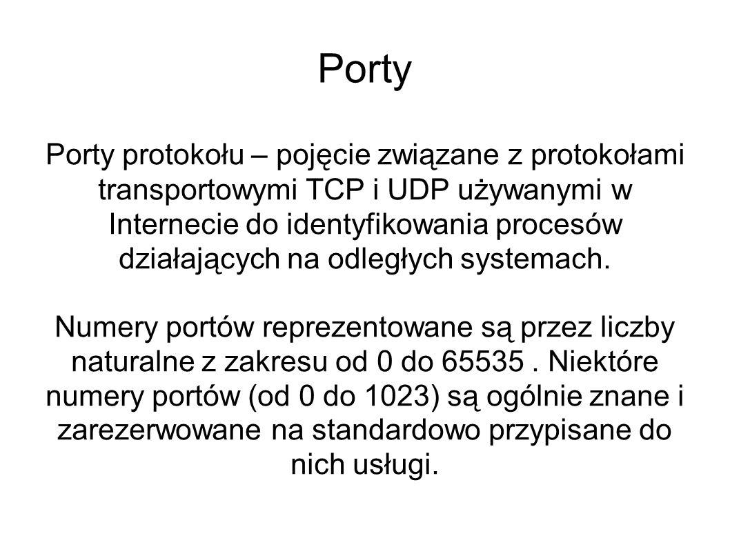 Porty Porty protokołu – pojęcie związane z protokołami transportowymi TCP i UDP używanymi w Internecie do identyfikowania procesów działających na odl