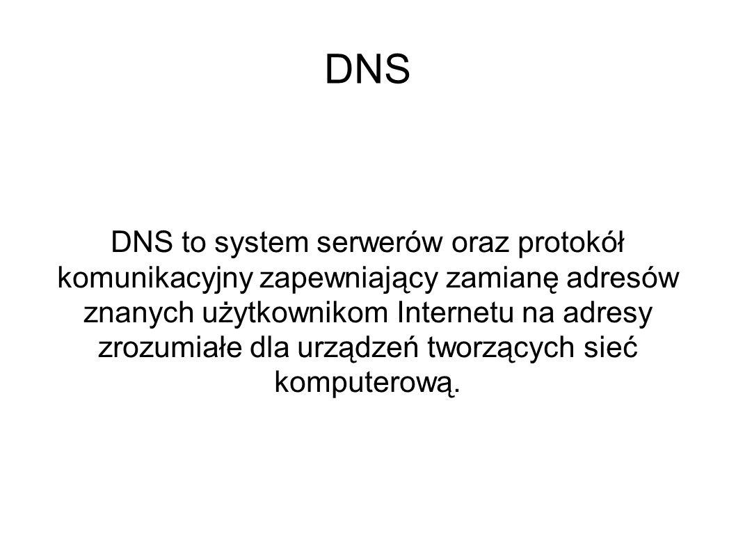 DNS DNS to system serwerów oraz protokół komunikacyjny zapewniający zamianę adresów znanych użytkownikom Internetu na adresy zrozumiałe dla urządzeń t