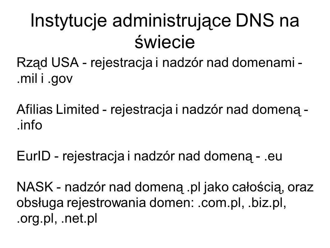 Instytucje administrujące DNS na świecie Rząd USA - rejestracja i nadzór nad domenami -.mil i.gov Afilias Limited - rejestracja i nadzór nad domeną -.