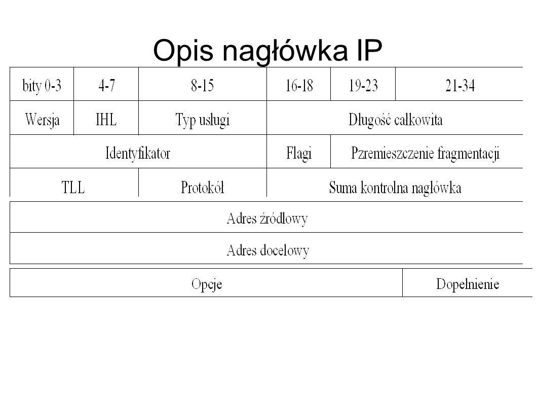 Rodzaje adresów IP Adresy klasy A zostały przeznaczone dla wyjątkowo dużych sieci i mogą zawierać ponad 16 milionów adresów hostów.