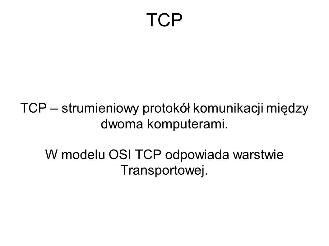 TCP TCP – strumieniowy protokół komunikacji między dwoma komputerami. W modelu OSI TCP odpowiada warstwie Transportowej.