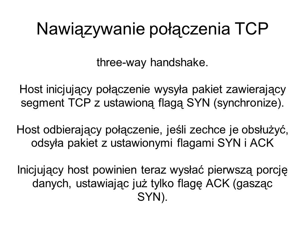 Nawiązywanie połączenia TCP three-way handshake. Host inicjujący połączenie wysyła pakiet zawierający segment TCP z ustawioną flagą SYN (synchronize).