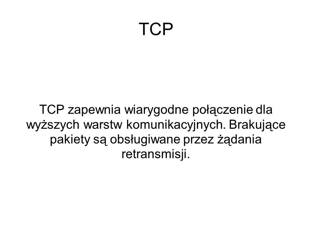 TCP TCP zapewnia wiarygodne połączenie dla wyższych warstw komunikacyjnych. Brakujące pakiety są obsługiwane przez żądania retransmisji.