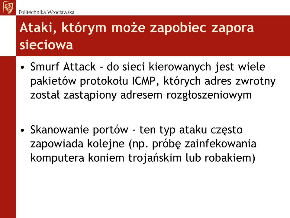 Wady i zalety firewalli Zalety: ochrona systemu możliwość korzystania poprzez całą sieć z jednego wspólnego adresu IP, bo mamy NAT monitorowanie połączenia WAN i ruchu w sieci
