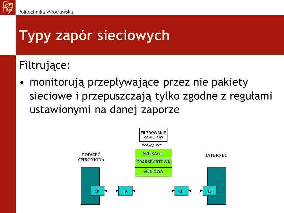 Typy zapór sieciowych Zapory pośredniczące (proxy): wykonuje połączenie z serwerem w imieniu użytkownika