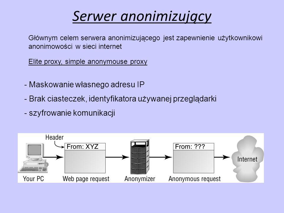 Serwer anonimizujący - Brak ciasteczek, identyfikatora używanej przeglądarki - szyfrowanie komunikacji - Maskowanie własnego adresu IP Głównym celem s