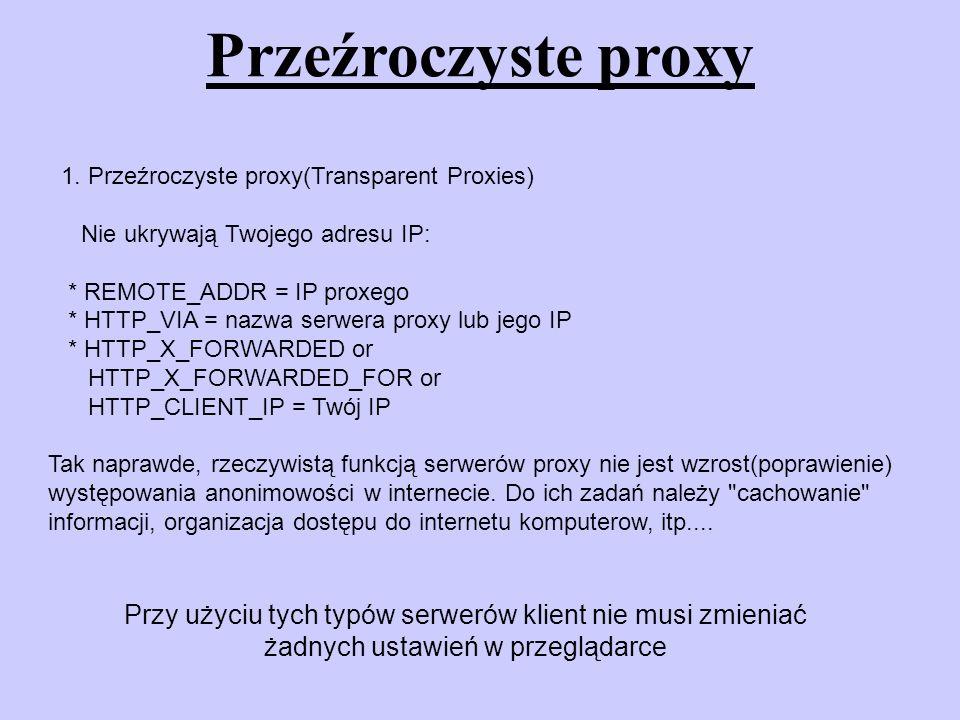 Open proxy - Open proxy jest często publiczne – przez złą konfiguracje - cechy podobne do anonymouse PROXY - wykorzystywany przez spamerów Serwery tego typu są instalowane jako serwery proxy dla wybranej grupy użytkowników.