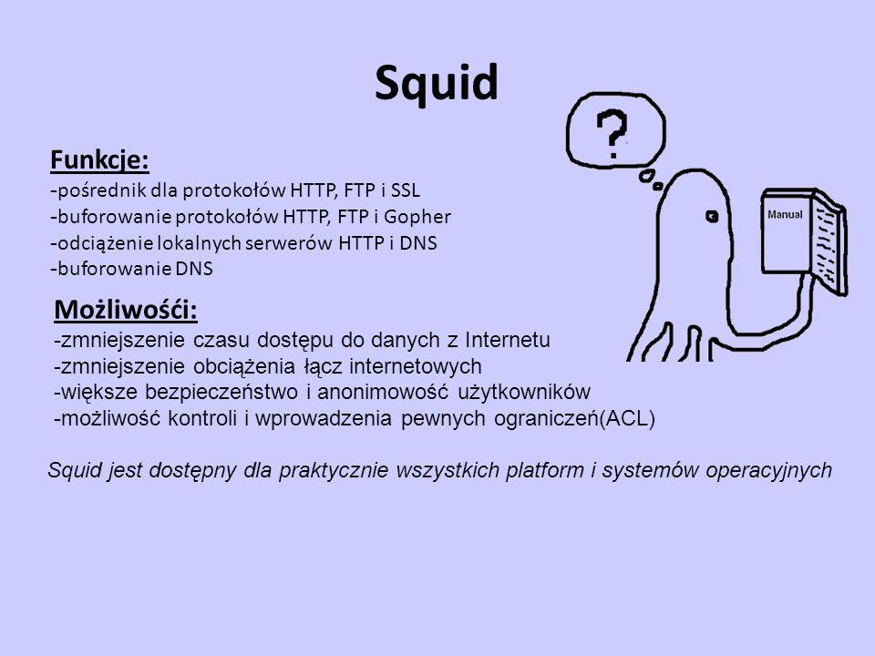 Squid Funkcje: - pośrednik dla protokołów HTTP, FTP i SSL - buforowanie protokołów HTTP, FTP i Gopher - odciążenie lokalnych serwerów HTTP i DNS - buf