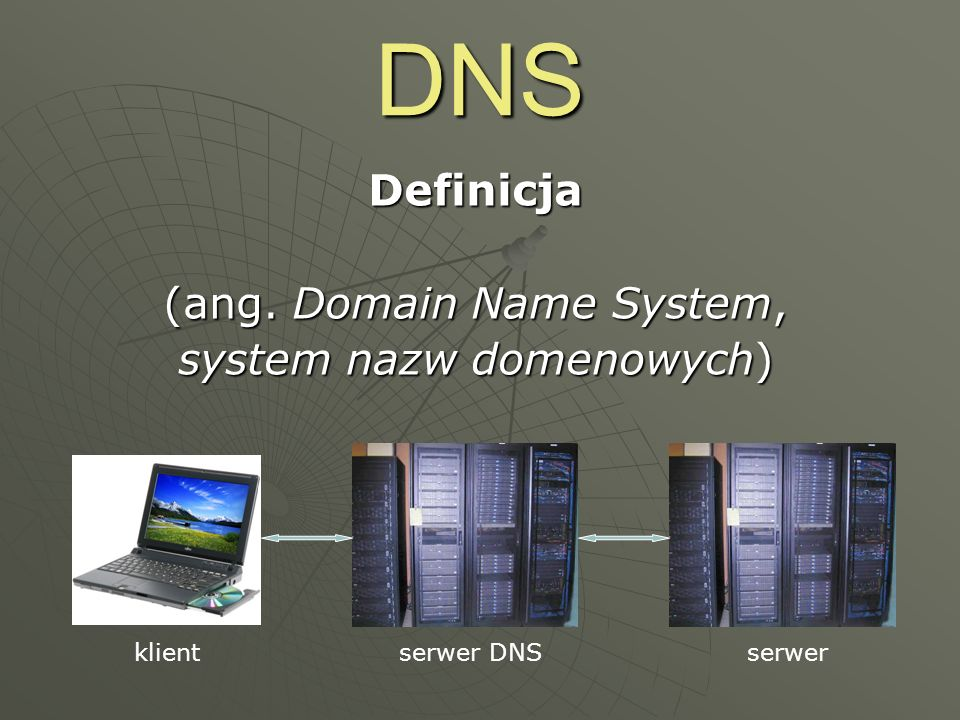 DNS Definicja (ang. Domain Name System, system nazw domenowych) serwer DNSklientserwer