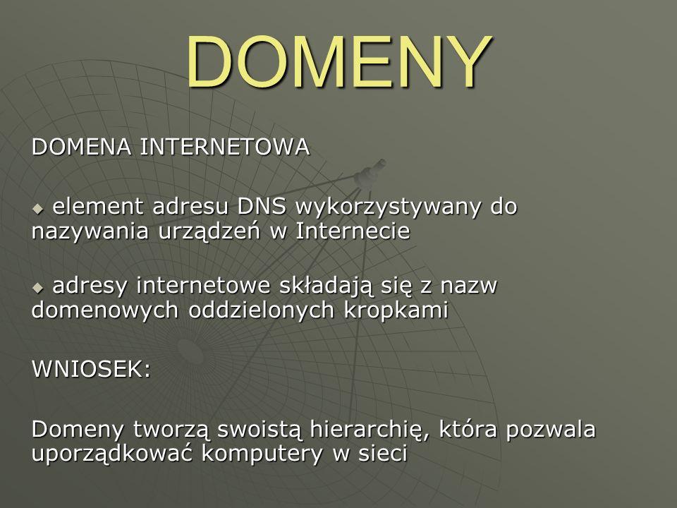 DOMENY RODZAJE DOMEN Domeny najwyższego poziomu: Domeny najwyższego poziomu: krajowe (.pl.gb.us.de.ru), krajowe (.pl.gb.us.de.ru), funkcjonalne (.com.biz.gov.org).