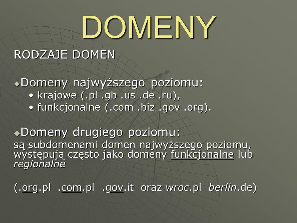DOMENY RODZAJE DOMEN Domeny najwyższego poziomu: Domeny najwyższego poziomu: krajowe (.pl.gb.us.de.ru), krajowe (.pl.gb.us.de.ru), funkcjonalne (.com.
