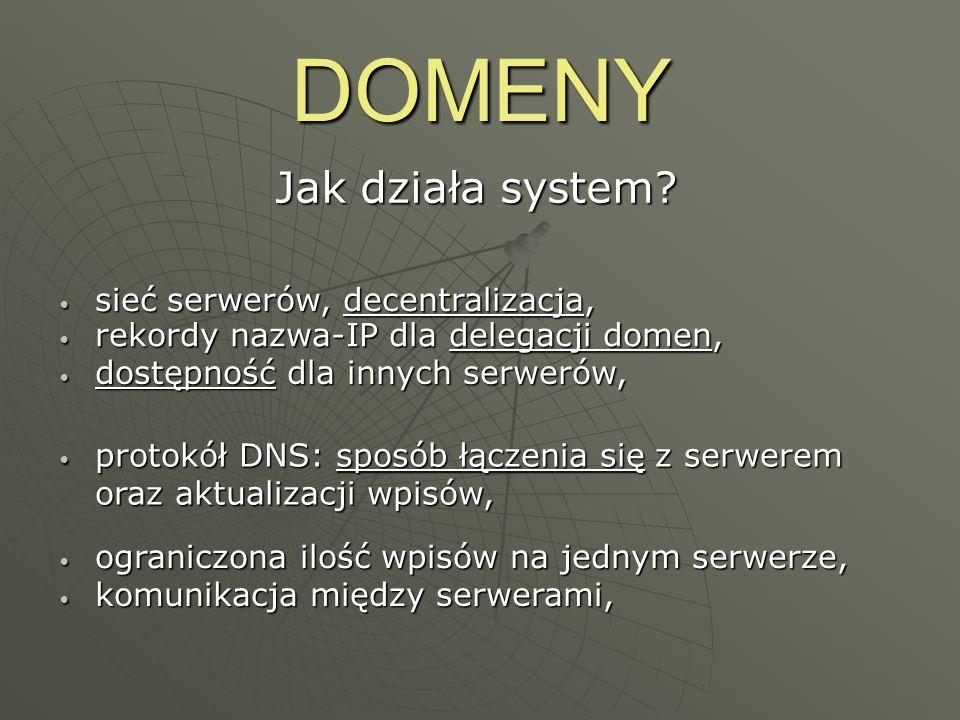 DOMENY Jak działa system? protokół DNS: sposób łączenia się z serwerem oraz aktualizacji wpisów, protokół DNS: sposób łączenia się z serwerem oraz akt