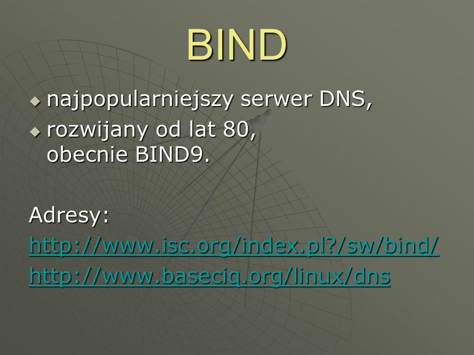 BIND najpopularniejszy serwer DNS, najpopularniejszy serwer DNS, rozwijany od lat 80, obecnie BIND9. rozwijany od lat 80, obecnie BIND9.Adresy: http:/