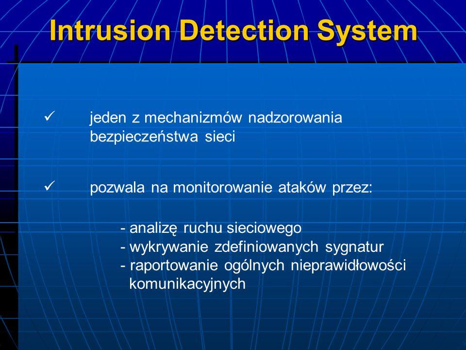 jeden z mechanizmów nadzorowania bezpieczeństwa sieci - analizę ruchu sieciowego - wykrywanie zdefiniowanych sygnatur - raportowanie ogólnych nieprawi