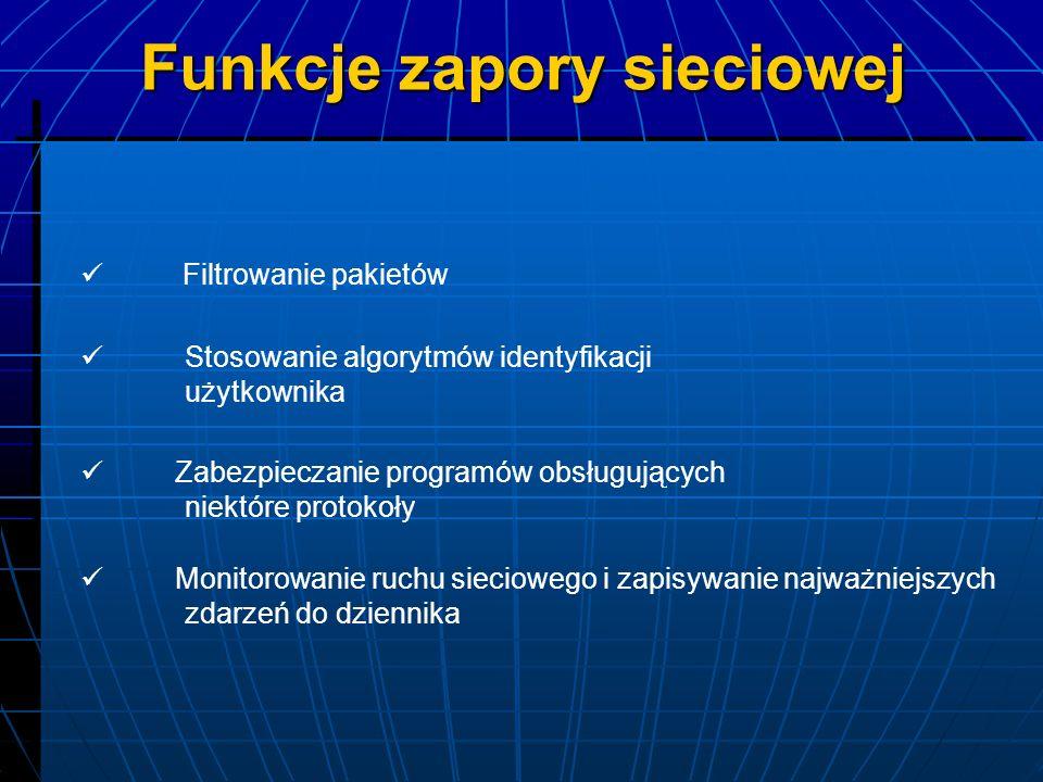 Filtrujące Filtrujące – monitoruje i przepuszcza tylko pakiety zgodne z regułami ustawionymi na danej zaporze Oprogramowanie komputerów stacjonarnych Oprogramowanie komputerów stacjonarnych - monitoruje ruch, udostępniając połączenia na zewnątrz poprzez wybrane porty Zapory pośredniczące (proxy) Zapory pośredniczące (proxy) - połączenie z serwerem w imieniu użytkownika Typy zapór sieciowych