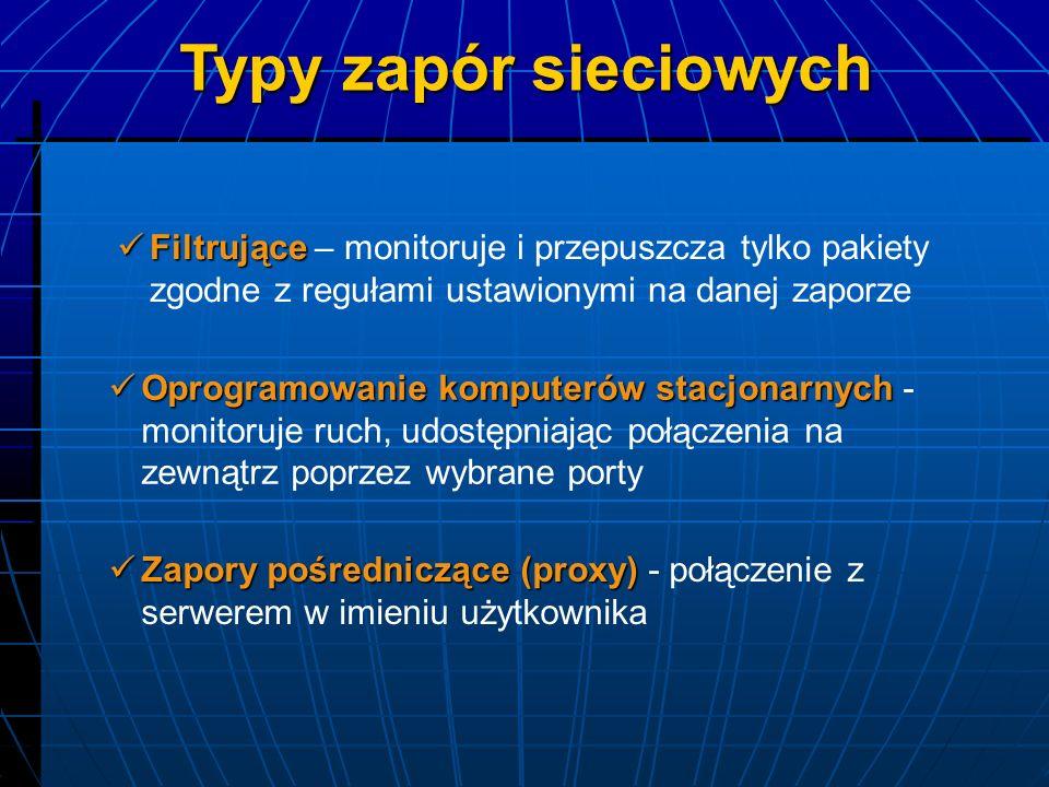 Pingflood Bombardowanie komputera pakietami ICMP Land Wysyłanie sfałszowanych pakietów, w którym adres IP komputera-adresata jest taki sam, jak numer IP nadawcy Rodzaje ataków