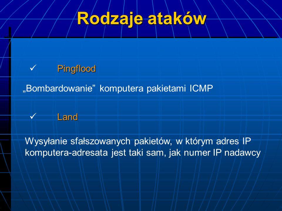 Pingflood Bombardowanie komputera pakietami ICMP Land Wysyłanie sfałszowanych pakietów, w którym adres IP komputera-adresata jest taki sam, jak numer