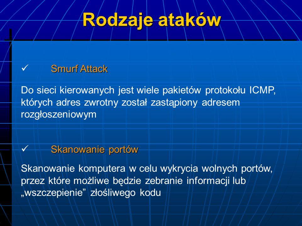 Smurf Attack Do sieci kierowanych jest wiele pakietów protokołu ICMP, których adres zwrotny został zastąpiony adresem rozgłoszeniowym Skanowanie portó