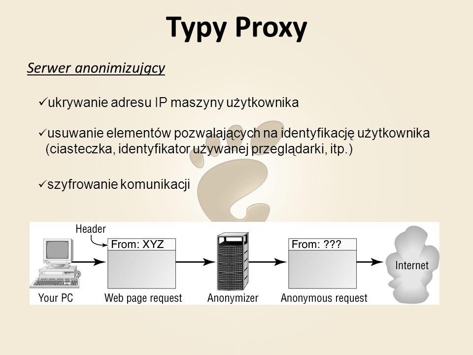 Typy Proxy Open proxy dostępny dla wszystkich użytkowników sieci Internet pozwala zamaskować prawdziwy adres IP przy pomocy tych serwerów rozsyłany jest spam dokonywane są przestępstwa internetowe Serwer proxy, który najczęściej wskutek błędnej konfiguracji jest dostępny dla wszystkich jako serwer publiczny