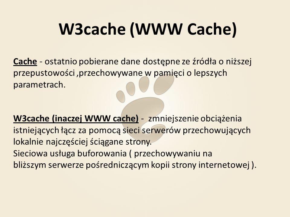 W3cache (WWW Cache) Zalety: Skrócenie czasu oczekiwania na załadowanie się strony Jeśli kilku użytkowników w sieci lokalnej korzysta z WWW poprzez takiego pośrednika i odwiedzają tę samą stronę, to wystarczy, że będzie ona pobrana jeden raz.