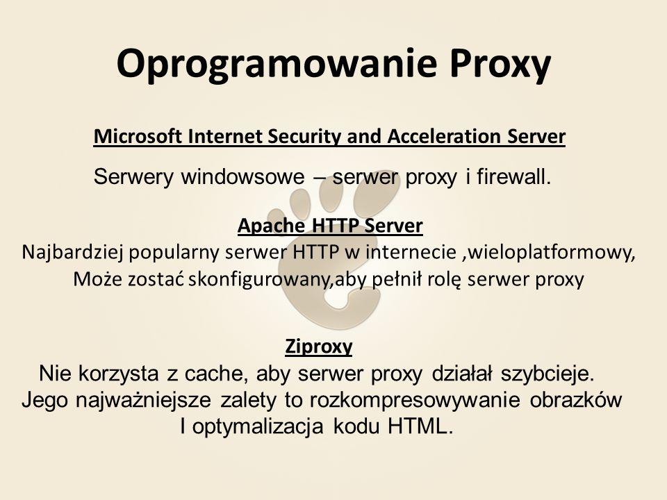 Squid Funkcje: - pośrednik dla protokołów HTTP, FTP i SSL - buforowanie protokołów HTTP, FTP i Gopher - odciążenie lokalnych serwerów HTTP i DNS - buforowanie DNS Możliwośći: -zmniejszenie czasu dostępu do danych zInternetu -zmniejszenie obciążenia łącz internetowych -większe bezpieczeństwo i anonimowość użytkowników -możliwość kontroli i wprowadzenia pewnych ograniczeń Squid jest dostępny dla praktycznie wszystkich platform i systemów operacyjnych
