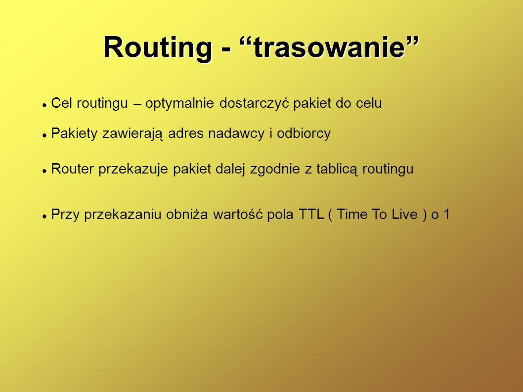 Routing - trasowanie Cel routingu – optymalnie dostarczyć pakiet do celu Pakiety zawierają adres nadawcy i odbiorcy Router przekazuje pakiet dalej zgo