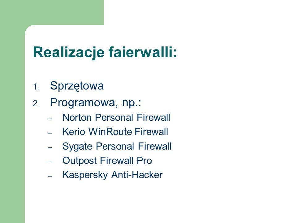 Realizacje faierwalli: 1. Sprzętowa 2. Programowa, np.: – Norton Personal Firewall – Kerio WinRoute Firewall – Sygate Personal Firewall – Outpost Fire