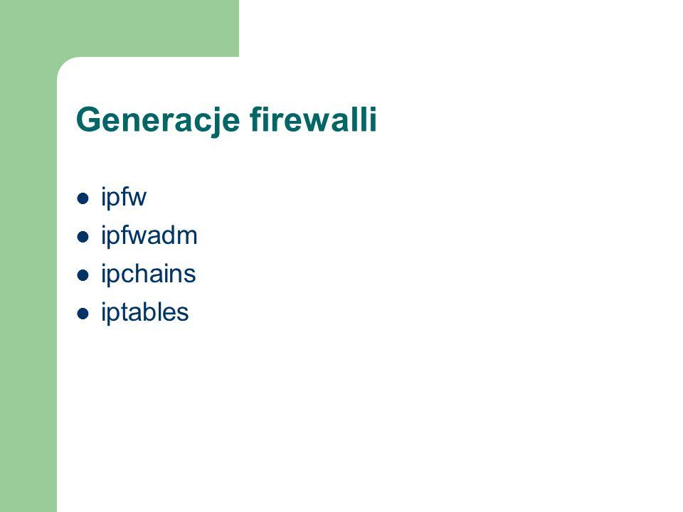 Generacje firewalli ipfw ipfwadm ipchains iptables