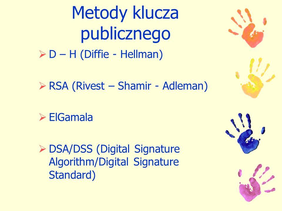 Metody klucza publicznego D – H (Diffie - Hellman) RSA (Rivest – Shamir - Adleman) ElGamala DSA/DSS (Digital Signature Algorithm/Digital Signature Sta