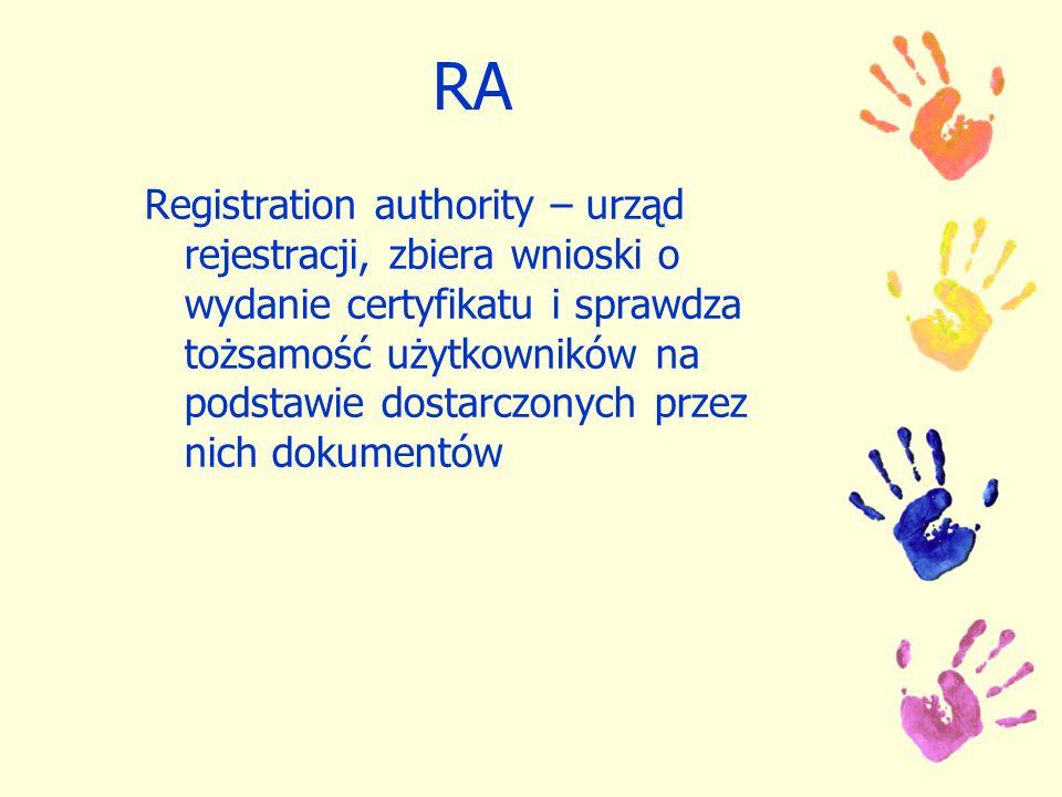 RA Registration authority – urząd rejestracji, zbiera wnioski o wydanie certyfikatu i sprawdza tożsamość użytkowników na podstawie dostarczonych przez